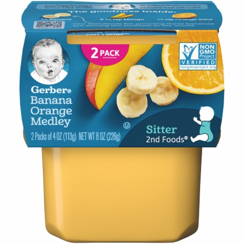 Gerber 2nd Foods Banana & Orange Medley Baby Food 2 Count Perspective: front