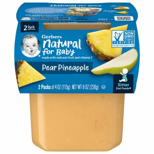 Gerber 2nd Foods Pear and Pineapple Baby Food Perspective: front