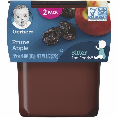Gerber Prune Apple Stage 2 Baby Food Perspective: front