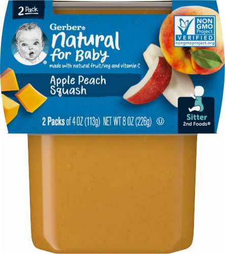 Gerber Apple Peach & Squash Stage 2 Baby Food Perspective: front