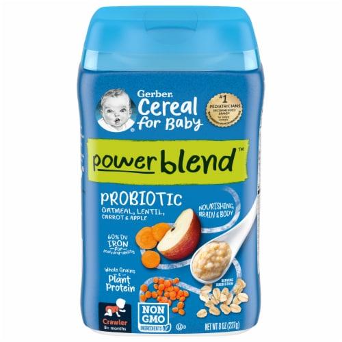 Gerber Power Blend Oatmeal Lentil Carrots & Apples Baby Food Cereal Perspective: front