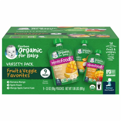 Gerber 2nd Foods Organic Variety Pack Stage 2 Baby Food Perspective: front