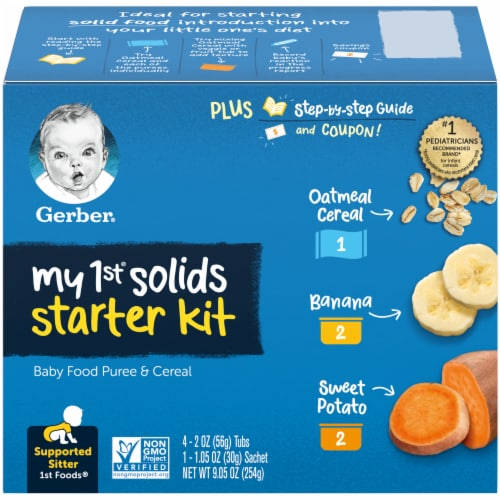 Gerber 1st Foods My 1st Solids Starter Kit Baby Food Perspective: front