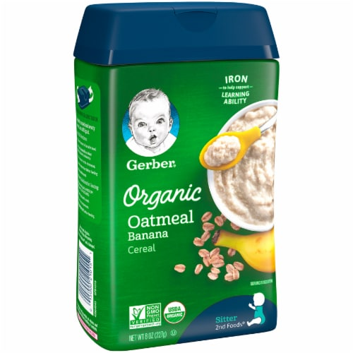 Gerber Organic Banana Sitter Oatmeal Cereal Perspective: front