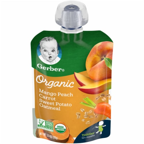 Gerber Organic Toddler Mango Peach Carrot Sweet Potato & Oatmeal Baby Food Perspective: front