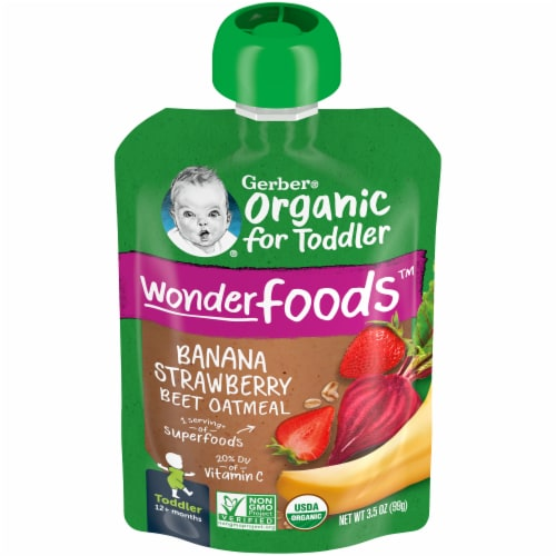 Gerber Organic Toddler Banana Strawberry Beet & Oatmeal Baby Food Perspective: front