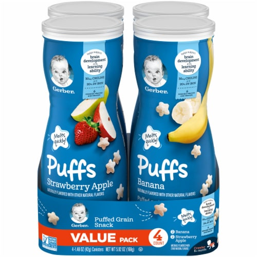 Gerber Crawler Puffs Banana Strawberry Apple Value Pack Perspective: front