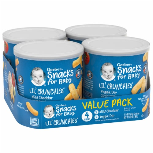 Gerber Crawler Lil' Crunchies Mild Cheddar & Veggie Dip Baked Corn Snack Value Pack 4 Count Perspective: front