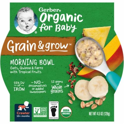 Gerber Organic Crawler Grain & Grow Tropical Fruits Morning Bowl Baby Food Perspective: front
