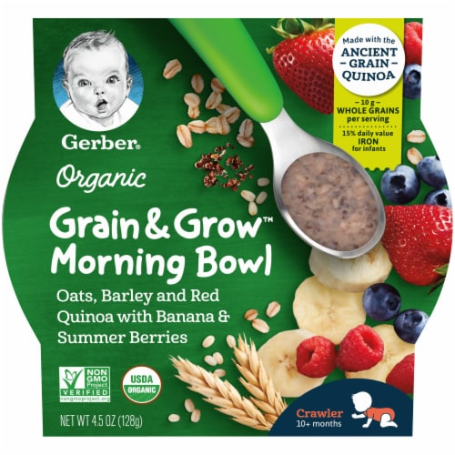 Gerber Organic Crawler Grain & Grow Banana and Summer Berries Morning Bowl Baby Food Perspective: front