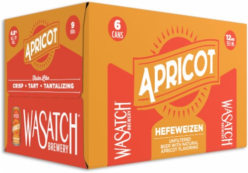 WaSatch Brewery Apricot Hefeweizen Beer Perspective: front