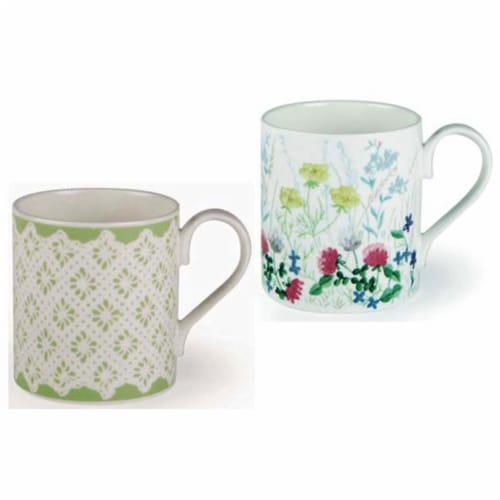 Roy Kirkham ER2176 Nina Campbell English Meadow Larch Mugs, Multi Color - Set of 6 Perspective: front