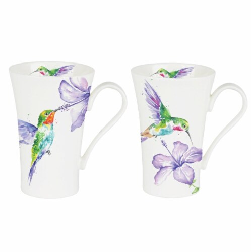 Roy Kirkham ER24121 600 ml Humming Birds Multi Latte Mugs, Multi Color - Set of 6 Perspective: front