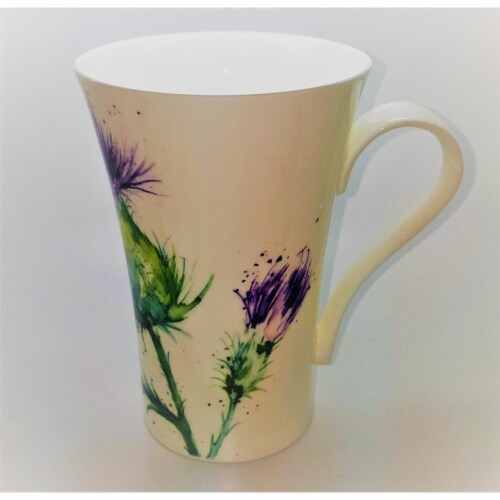 Roy Kirkham ER24143 600 ml Thistles Multi Latte Mugs, Multi Color - Set of 6 Perspective: front