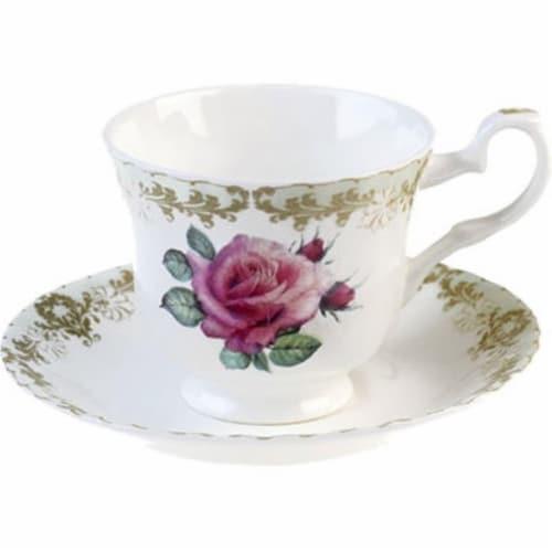 Roy Kirkham ER2707 230 ml Vintage Roses Teacup & Saucer - Set of 2 Perspective: front