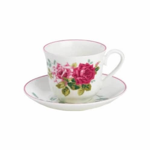 Roy Kirkham ER27120 230 ml Rosa Alba Teacup & Saucer - Set of 2 Perspective: front
