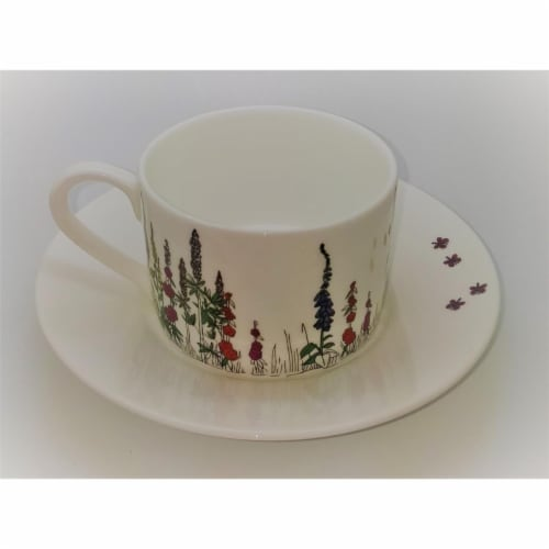 Roy Kirkham ER2780 230 ml Cottage Garden Teacup & Saucer - Set of 2 Perspective: front