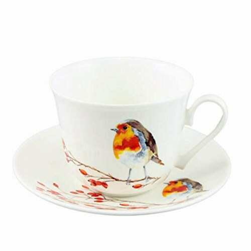 Roy Kirkham ER2870-R 105 mm Robin Breakfast Cups & Saucers - Set of 2 Perspective: front