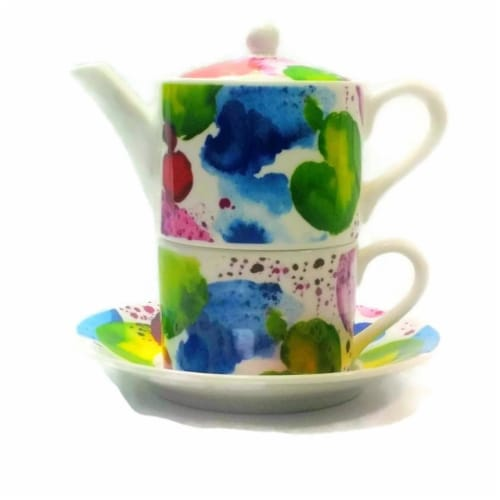 Roy Kirkham ER30141 90 mm The Planets Tea for One Teapot with Tea Cup & Saucer, Multi Color Perspective: front