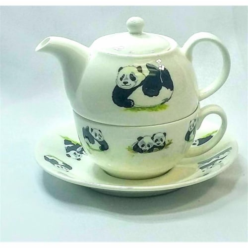 Roy Kirkham ER30142 90 mm Panda Tea for One Teapot with Tea Cup & Saucer, Multi Color Perspective: front