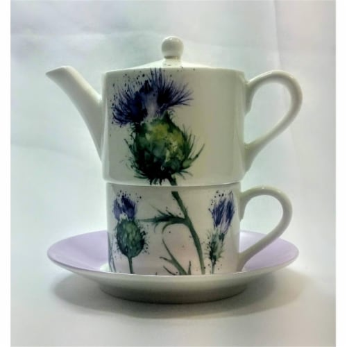 Roy Kirkham ER30143 90 mm Thistles Tea for One Teapot with Tea Cup & Saucer, Multi Color Perspective: front