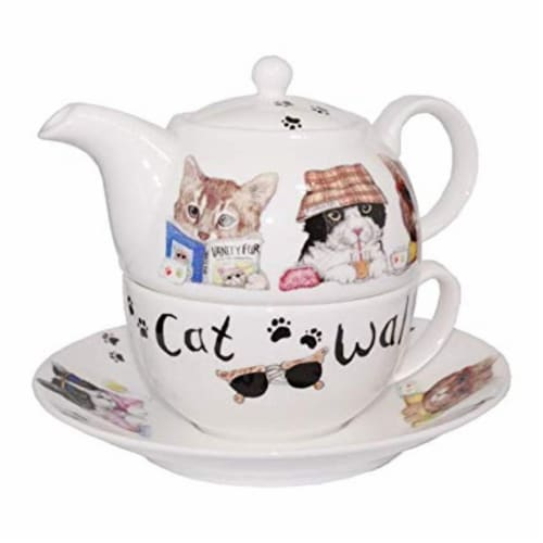 Roy Kirkham ER3027 90 mm Animal Fashion - Cats Tea for One Teapot with Tea Cup & Saucer, Mult Perspective: front