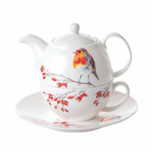 Roy Kirkham ER3070-R 90 mm Robin Tea for One Teapot with Tea Cup & Saucer, Multi Color Perspective: front