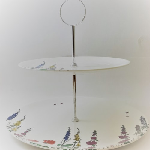 Roy Kirkham 10.75 x 8 in. Cottage Garden 2 Tier Cake Stand Perspective: front