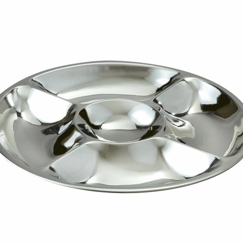 Leeber 72569 Elegance Silver 5 Section Dip & Serve Tray, 15 in. Perspective: front