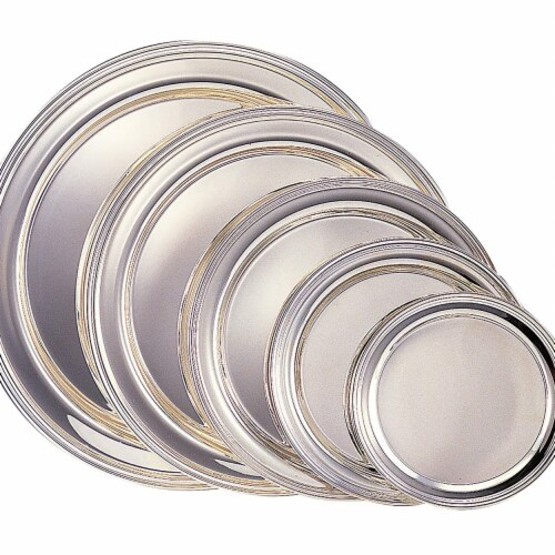 Leeber 8233 12 in. Silver Round Tray Perspective: front