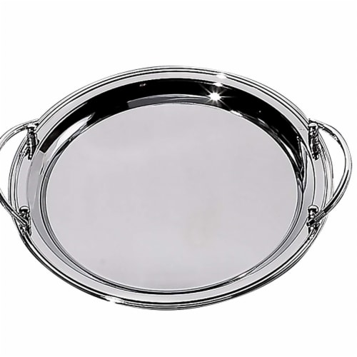 Leeber 82534 Nickel Plate Round Tray with Handles Perspective: front
