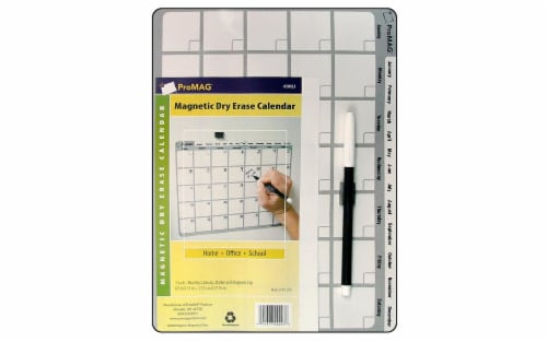 ProMag Magnetic Dry Erase Monthly Calendar 8.5x11 Perspective: front