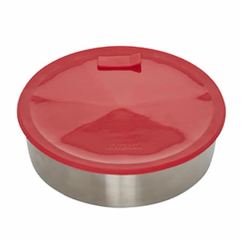 Instant Pot® Stainless Steel Round Pan with Red Lid & Divider Perspective: front