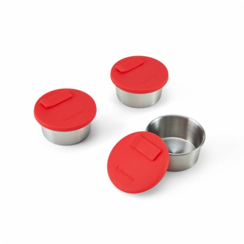 Instant Pot® Small Cups - Stainless Steel with Red Lids Perspective: front