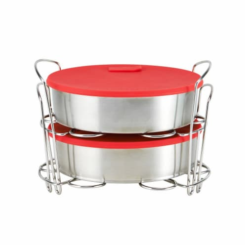 Inatant Pot Cook Bake Set - Stainless Steel with Red Lids Perspective: front