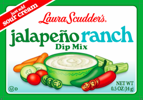 Laura Scudder's Jalapeno Ranch Dip Mix Perspective: front