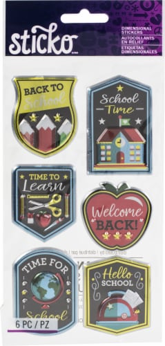 Sticko Dimensional Stickers-Back To School, 6/Pkg Perspective: front