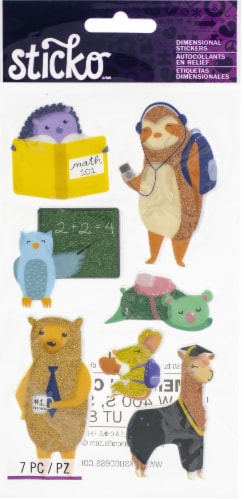 Sticko Dimensional Stickers-Back To School Animal, 7/Pkg Perspective: front
