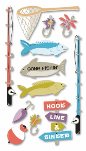 Jolee's Le Grande Dimensional Stickers-Fishing Perspective: front