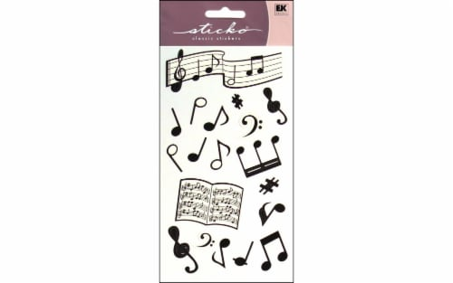 EK Success Sticko Silhouette Musical Notes Sticker Sheet - 19 Piece - Black/White Perspective: front
