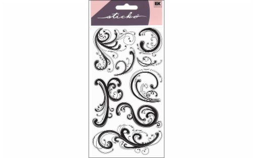 EK Sticko Dainty Black Flourishes Stickers Perspective: front