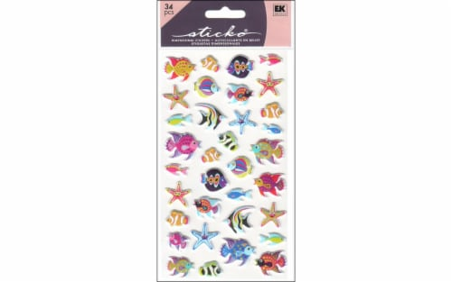 EK Sticko Sticker Puffy Tropical Fish Perspective: front