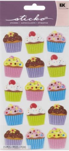 EK Success Sticko Bright Vellum Cupcake Sticker Sheet Perspective: front