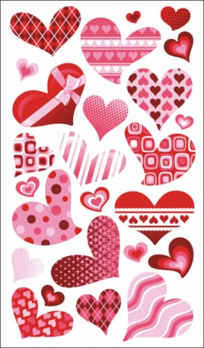 American Crafts Funky Hearts Stickers Perspective: front
