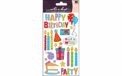 EK Success Sticko Birthday Party Stickers Perspective: front