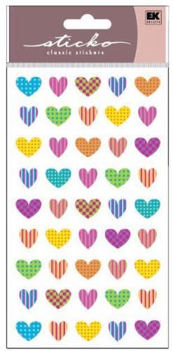 Sticko Colorful Patterned Heart Sticker Sheet Perspective: front
