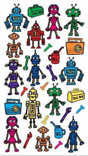 EK Success Sticko Colorful Robots Sticker Sheet Perspective: front