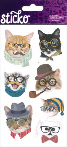 EK Success Sticko Hipster Cats Stickers Perspective: front