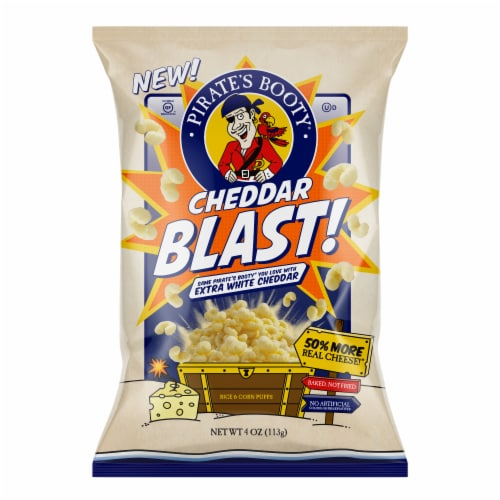 Pirate's Booty Cheddar Blast! Rice & Corn Puffs Perspective: front
