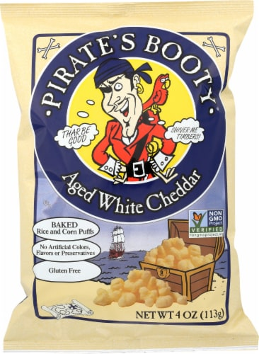 Pirate's Booty Aged White Cheddar Baked Rice & Corn Puffs Perspective: front